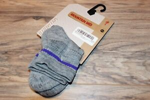 Specialized Mountain Mid Women's Cycling Sock XS/S Gray/Purple FREE SHIP
