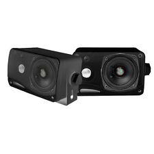 Pair Black PLMR24B 3.5'' 200 Watt 3-Way Weather Proof Mini Box Speaker System