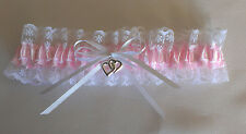 WEDDING GARTER  -  WHITE/PINK/LACE - SMALL, MEDIUM OR LARGE