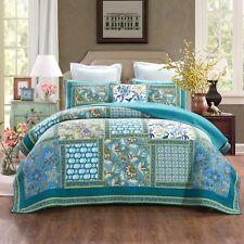 Quilts Coverlet Super King Size 265cm x 285cm  Aqua  Includes 2 Pillowcase