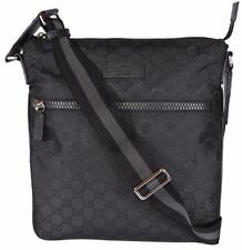 e39d72c5dc3515 NEW Gucci 449184 Black Nylon GG Guccissima Web Trim Crossbody Messenger Bag