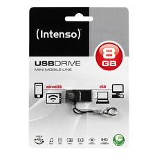 >> MINI NANO CLE OTG MICRO + USB 8GO INTENSO / 8 go pour PC SMARTPHONE TABLETTE