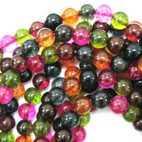"Watermelon Tourmaline Quartz Round Beads 15"" Strand 4mm 6mm 8mm 10mm 12mm"