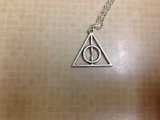 """Silver Tone Harry Potter The Deathly Hallows Charm Pendant Necklace 24"""""""