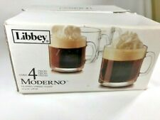 LIBBEY Clear Robusta Classic Coffee Tea Cups Glass Mugs 10.4oz Set of 4