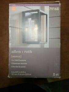Allen + Roth 2-Pack 8.25-in H Matte Black Outdoor Wall Lantern