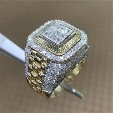 Cool Women Men 18K Yellow Gold Plated White Topaz Ring Wedding Gift  Sz 7-13