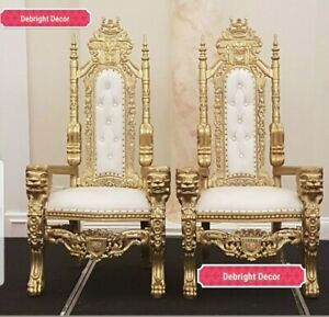 KING & QUEEN LARGE WEDDING THRONE CHAIRS IN GOLD FOR SALE
