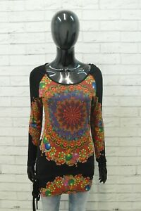 Maglia Desigual Donna Taglia S Maglietta Blusa Shirt Polo T Shirt Elastica Nero