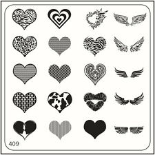 Moyou Nail Moda Stamping Nail Art imagen Placa 409 corazones estilo glam