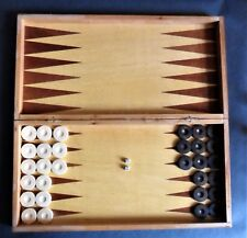 Old vINTAGE wOODEN Box  CHESS bOARD Backgammon GAME Set wooden checkers dice
