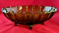"""Vintage Indiana Glass Footed """"Grape and Cherry"""" Green Fruit Bowl"""