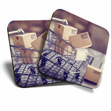 2 x Coasters - Online Shopping Trolley Funny Home Gift #21966