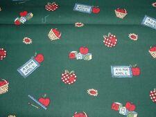 Vtg 80s Small Anthro Apples Blocks Baskets Doll Quilt Sew Fabric 68x43 RARE#ff37