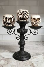 Yankee Candle Halloween Skeleton Crew Triple Skull T/L Candelabra Retired NOS