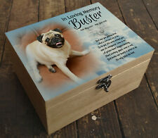 Personalised Pug dog wooden urn casket, In loving memory gift, cremation ashes