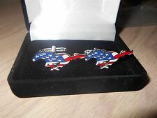 FORD MUSTANG USA AMERICAN FLAG LOGO NEW LICENSED GIFT BOXED CUFFLINKS SET NICE!