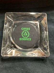 Vintage Glass Cities Service Citgo Petroleum Advertising Ashtray Mid Century