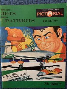 1969 New York Jets Boston Patriots Football Program/Phil Bissell cover-MINT!