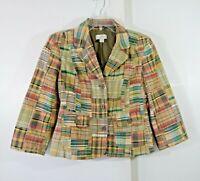 LOFT jacket blazer madras plaid 100% cotton casual preppy 3/4 sleeve small 4