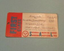1959 Swedish American Line Cruise Ship Kungsholm Luggage Label Tag with Sticker