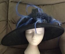 "Dark Navy & Royal/ Cobalt Blue Wedding Hat BNWT Large Brim 18"" X 14"" Unusual"