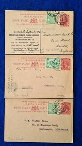 1926 Malta 3 x POST PAID POSTCARDS KGV 1d + ½d surcharge used
