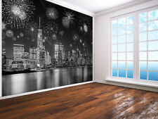 Fireworks in New York black and white photo Wallpaper wall mural (89126515)