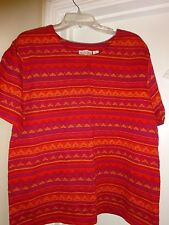 JACLYN SMITH Sport Ladies Size XL Red Gold Top Crew Neck Short Sleeve L@@K