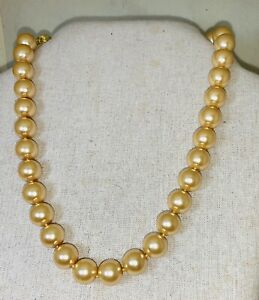 "Statement Pearl Necklace:  Large 10mm Gold Shell Pearl 18"" Gold Tone Clasp"