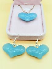 1 sets of fashionable charms love earrings and necklace pendants jewelry blue #