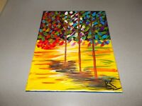 Painting abstract trees acrylic on Artist hand painted canvas 16 X 20 inch