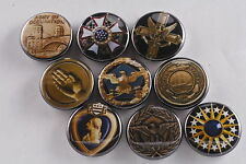 Magnet Lot Set of 9 America USA Medals Purple Heart Orders Cross Made in USA