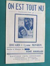 """Partition Piano """"On est tout nu"""" René MAZELLES"""