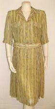 RENATO BALESTRA SILK DRESS STRIPED BELTED VINTAGE 1980's MADE IN ITALY 36