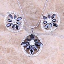 Black Onyx White Topaz Silver Jewelry Sets Earrings Pendant S0738