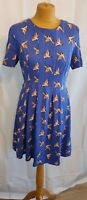Oasis Dress UK 10/12 Blue Bird Print Tea fit & flare spring summer