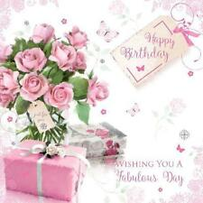Happy Birthday Roses Butterfly & Presents Design Female Happy Birthday Card
