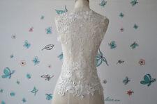 Bordado Encordado Aplique Blanco Crudo de Boda Listón Encaje Floral Motivo