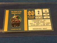 Vanderbilt vs Notre Dame College Football Ticket Stub - September 16, 1995