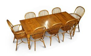 RRP £23,500 STEWART LINFORD BURR YEW & ELM DINING TABLE & 8 WINDSOR CHAIRS