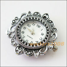 1 New Charms Tibetan Silver Round Flower Pocket Watch Face Connectors 32mm