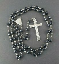 """Vintage Janice Rosary Necklace Big Sterling Crucifix Cross Black Beads 21"""""""