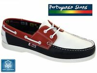 Mens Beppi Leather Deck Boat Shoes Red/White/Blue Made In Portugal UK7/EU41