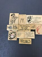 12 Lot Art Theme Rubber Stamp Easel Pallet Sayings