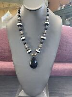 """Vintage Black White  AB  Glass Crystal beaded  20"""" inch drop pendant necklace"""