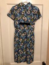 LIL ALICE Vtg 40-50s Blue Green Floral Short Sleeve Dress Sz Medium Vintage Retr