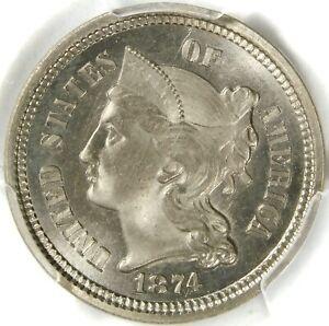 🥶💙🥶🔥🔥❤️😱PCGS MS65 1874 3 CENT NICKEL
