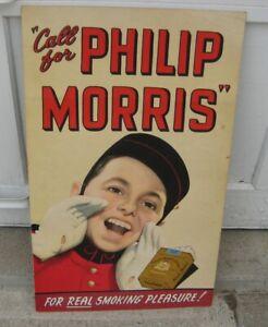 Large Old  Phillip Morris Cigarette cardboard Sign. - Mid Century Era original