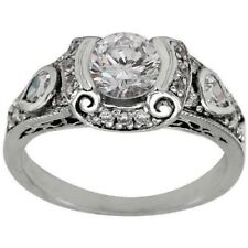 Round Cut Cz Solid 925 Sterling Silver Art Deco Engagement Ring In 2.20 Ct White